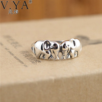 V Ya Authentic 925 Sterling Silver Rings For Women Cute Elephants Thai Rings Micro Pave For