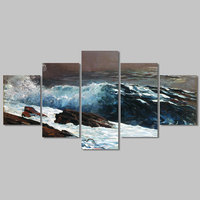 Big Size 5 Pcs White Wave Spray Decoration Wall Art Picture Poster Seascape Sea Canvas Painting