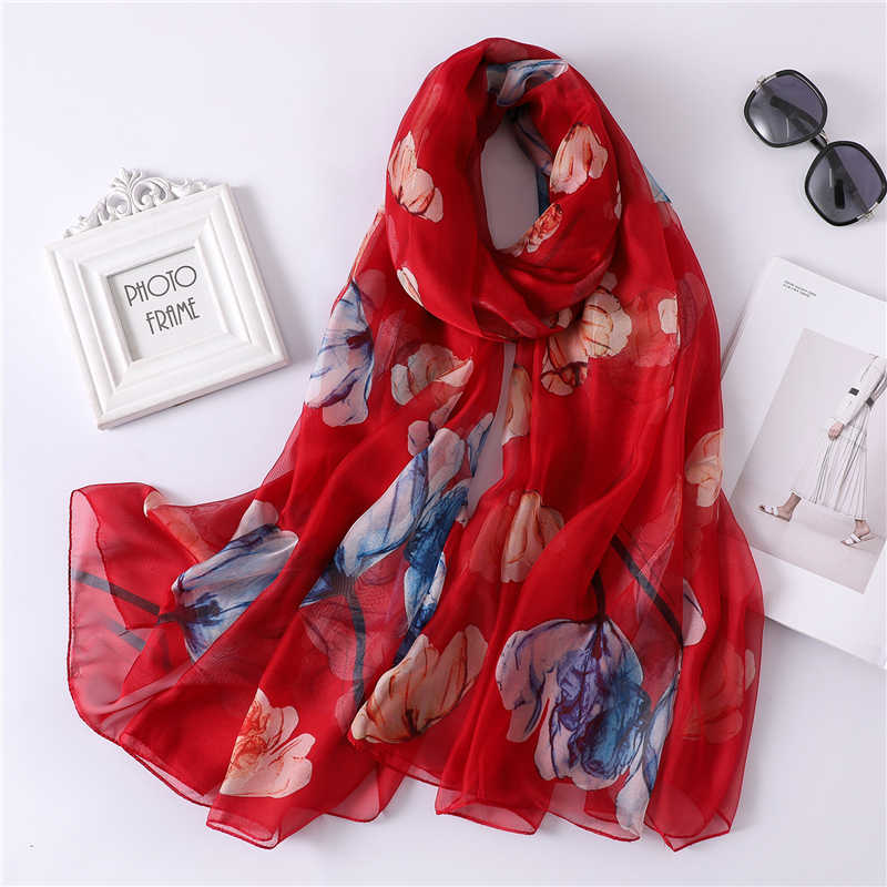 2019 della sciarpa di estate per le donne protezione solare spiaggia stole della signora sciarpe di seta scialli involucri femminile pashmina bandana foulard stampa echarpe