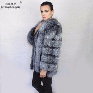 Image 4 - Linhaoshengyue Length70CM abrigo de piel de zorro auténtica, abrigo de piel Natural, abrigo de piel auténtica de zorro, mujeres de invierno