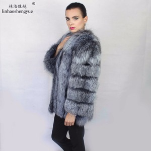 Image 4 - Linhaoshengyue Length70CM genuine fox fur coat,Natural fur coat, real fox fur coat,winter women