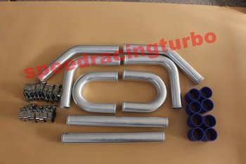 """Universal Turbo Boost Intercooler Pipe Kit 2.25"""" 57MM 8 Pieces Aluminum Piping Black"""