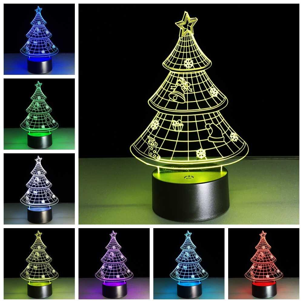 العام الجديد الجدة عيد الميلاد سلسلة 3D LED مصباح سانتا كلوز ثلج شجرة هدايا الكريسماس ليلة ضوء RGB زينة عيد الميلاد لعب الاطفال