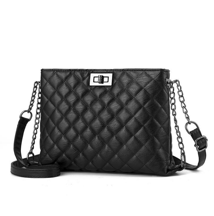 Ragcci marque de luxe femmes Plaid sac fourre-tout sac femme sacs à main Designer en cuir noir grande bandoulière chaîne Messenger sac dames