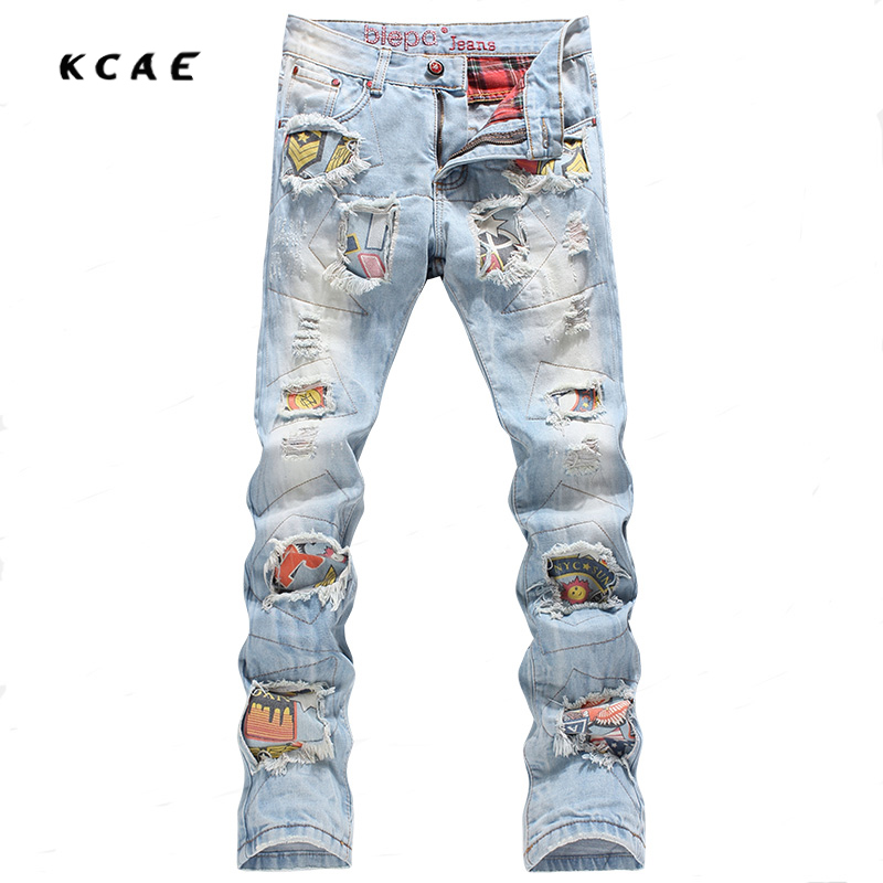 Personality Badge Patchwork Jeans Men Ripped Jeans Fashion Brand Scratched Biker Jeans Hole Denim Straight Slim Fit Casual Pants men s cowboy jeans fashion blue jeans pant men plus sizes regular slim fit denim jean pants male high quality brand jeans