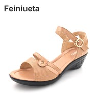 2017 Summer New Leather Women Sandals Slope With Large Size Shoes Casual Middle Cow With Middle