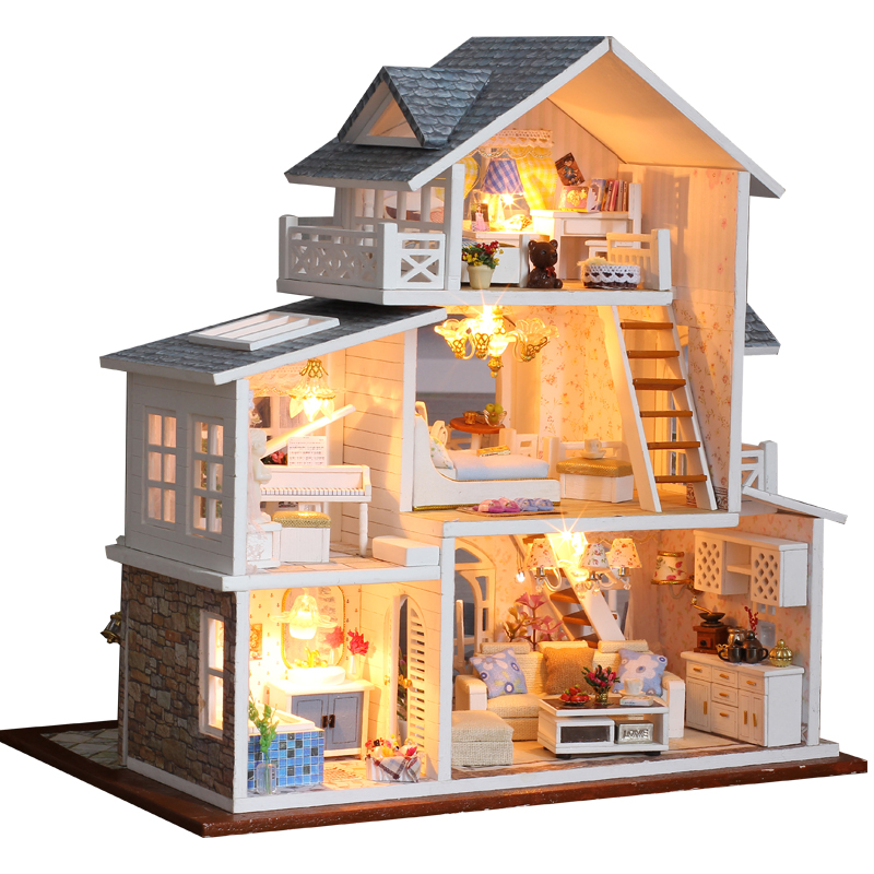CUTEBEE DIY Dollhouse Wooden doll Houses Miniature Doll House Furniture Kit Casa Music Led Toys for Children Birthday Gift K18(China)
