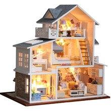 Cutebee k18, kit casa de bonecas de madeira, kit com casas de boneca de miniatura de madeira do tipo faça você mesmo com luz led brinquedos para presente de aniversário infantil