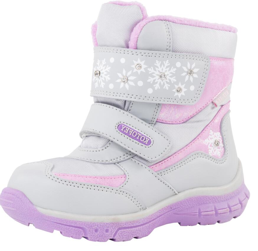 Image 3 - Baby Girls Snow Boots Fashion Top Quality Genuine Leather Toddler Shoes With Wool Waterproof  For Winter   30 Degrees Size 22 25-in Boots from Mother & Kids