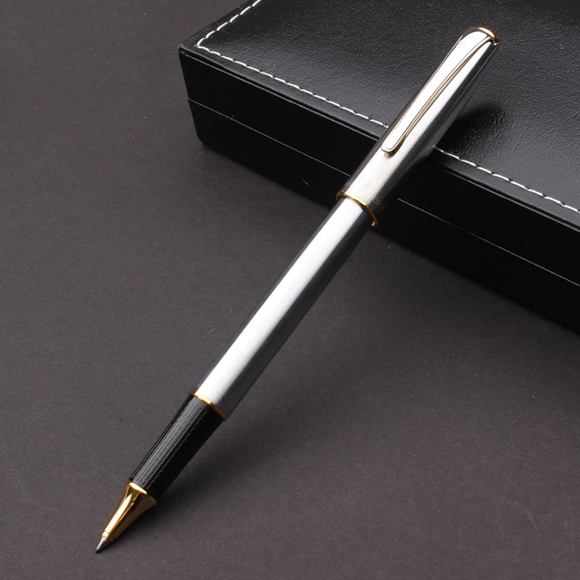 Silver & Leather Rollerball Pen