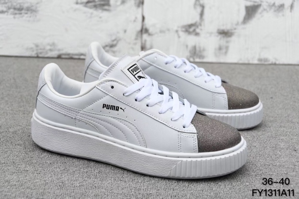 2018 Original Brand PUMA Basket Platform White Badminton Shoes Women's Sneakers Balanced Size 36-39