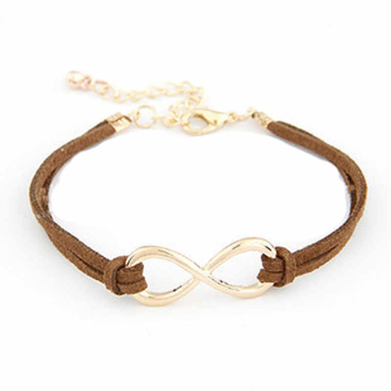Stylowa dzika bransoletka 1PC kobiety wielowarstwowa bransoletka Wrap skóra nieskończoność Symbol nadgarstek pani biżuteria wysokiej jakości prezenty L0330