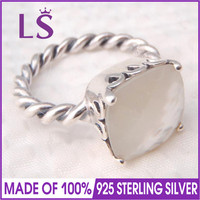 LS 100 925 Silver Elegant Sincerity Twist Ring Mother Of Pearl Ring Christmas DIY Making Accessories