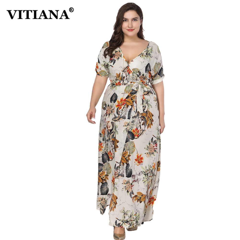 VITIANA Women Plus Big Size Maxi Long Dress Female Flower Print Short Sleeve Split Hem Bohemian Loose Sexy Casual Dress Belt