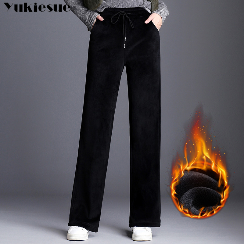 2018 Winter Warm Thick Women Long Velvet Pants,England Loose Casual Staight Wide Leg Velour Pants,Plus Size Velvet Trousers