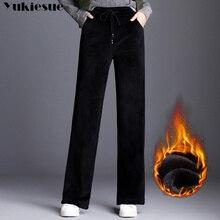 2018 חורף חם עבה נשים ארוך קטיפה מכנסיים, אנגליה loose מקרית staight רחב רגל מכנסיים קטיפה, בתוספת גודל קטיפה מכנסיים