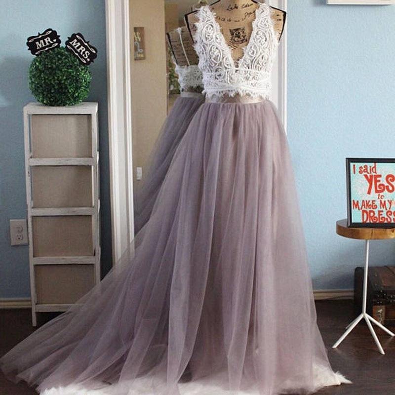 Real Photo Long Tulle Tutu Long Skirt Womens Floor Length Sweep Train Maxi Skirts Bridesmaid Prom Party Skirt Faldas Mujer Moda