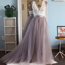 Real Photo Long Tulle Tutu Long Skirt Womens Floor Length Sweep Train Maxi