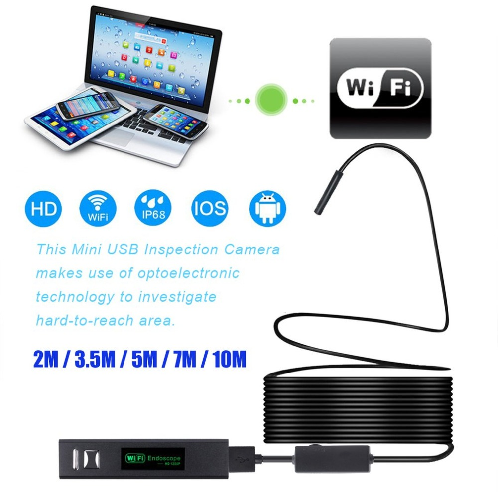 YPC110A 8mm WiFi Endoscope With Hard Cable Waterproof USB Endoscope Handheld Borescope Digital Inspection Camera For Phone