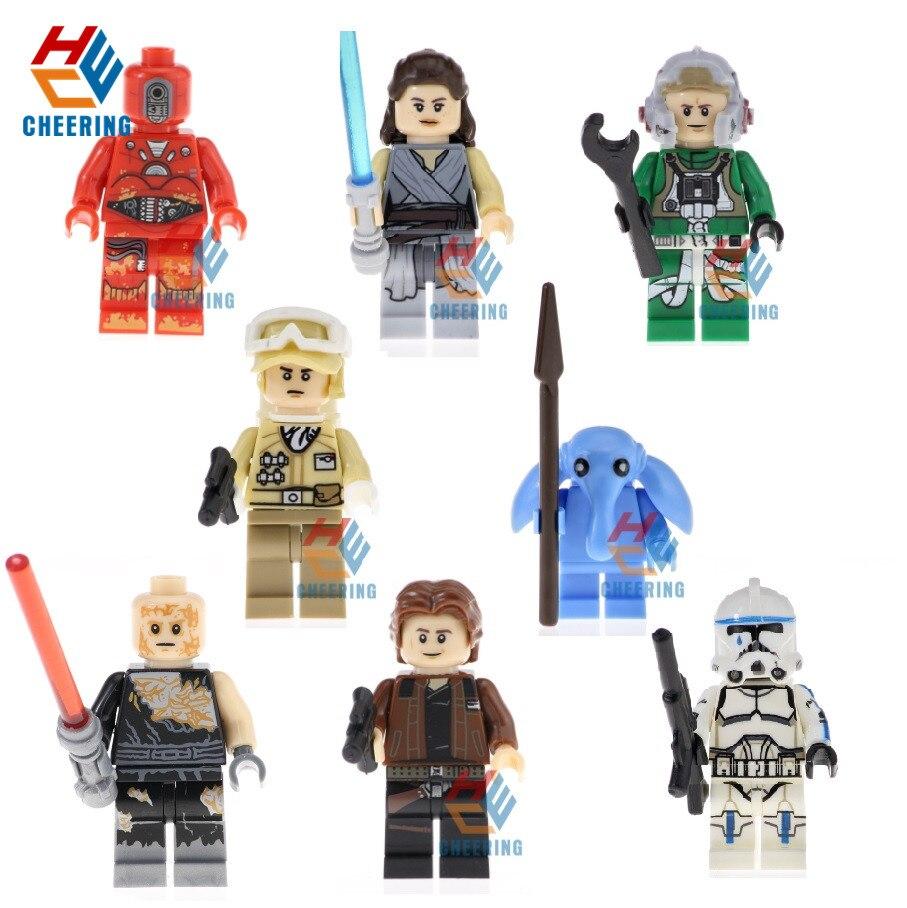 20 Pcs Berühmte Film Rey Han Solo Stormtrooper Hoth Rebel Anakin Ein Flügel Pilot Bricks Bausteine Kinder Geschenk Spielzeug Pg8145