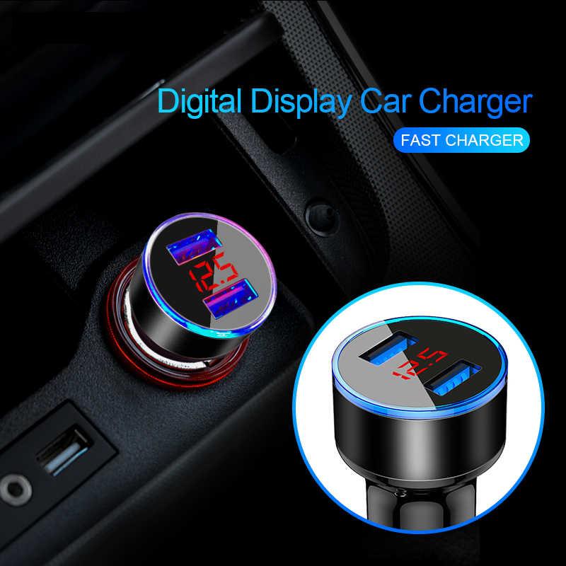 Charger Mobil Ganda Usb Adaptor 3.1A Digital LED Tegangan/Current Display Auto Kendaraan Logam Charger untuk Ponsel Pintar/ tablet 1 M Kabel