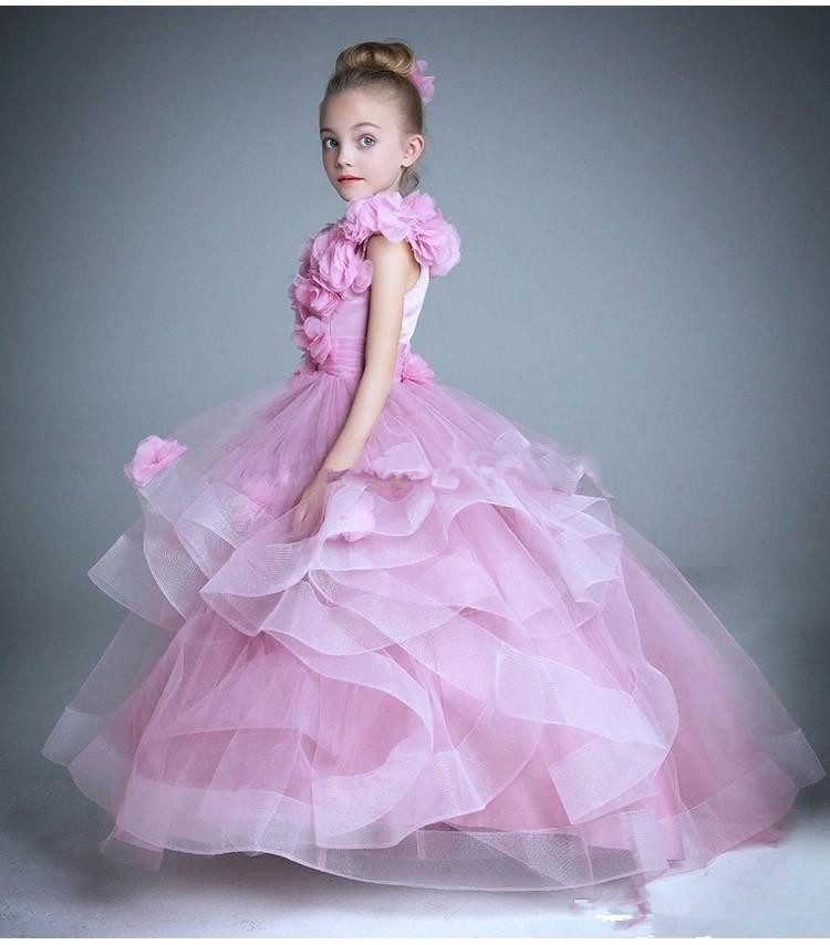2016 Long Pageant Dresses for Girls Cheap Ball Gown Flower Tiers ...