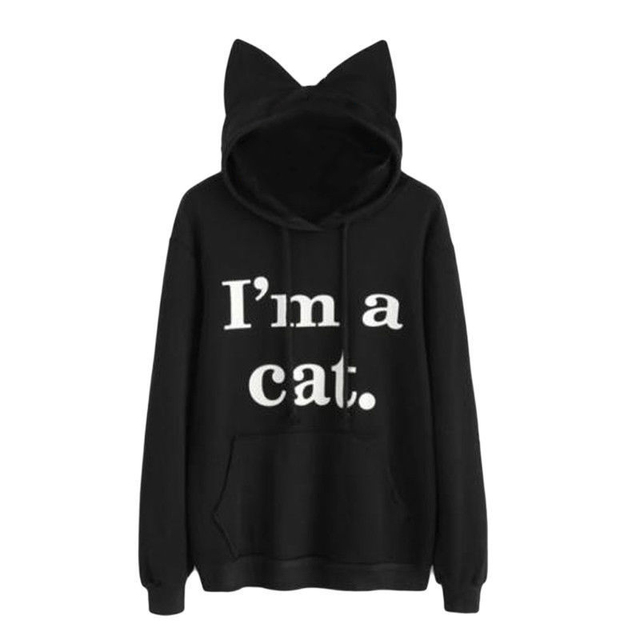 Winter Autumn Kawaii Letter Cat Ear Cap Hoodies Women Print Long Sleeve Pullovers Long Sleeve Cute Cat Pattern Sweatshirt 2018