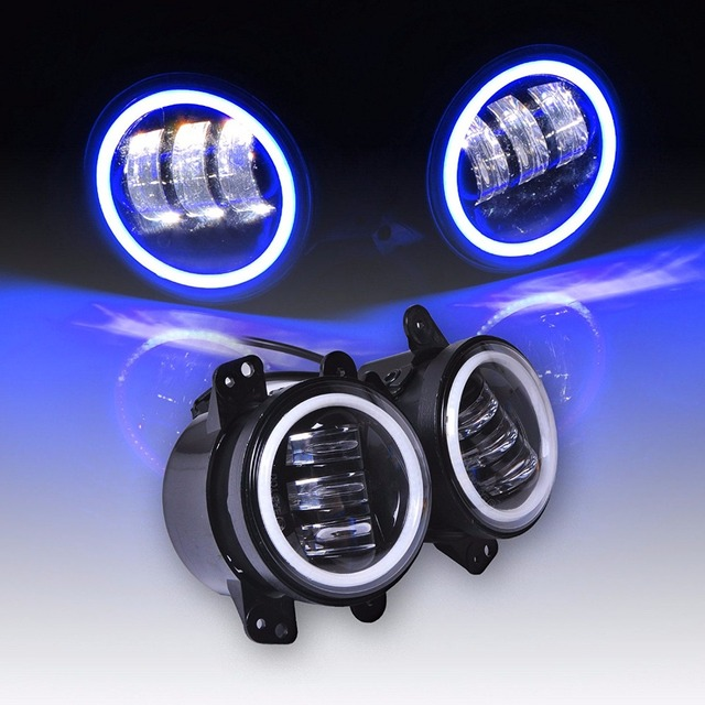 Perfect 4 Inch 60W Led Fog Lights White DRL / Blue Turn Signal Halo Ring For Jeep