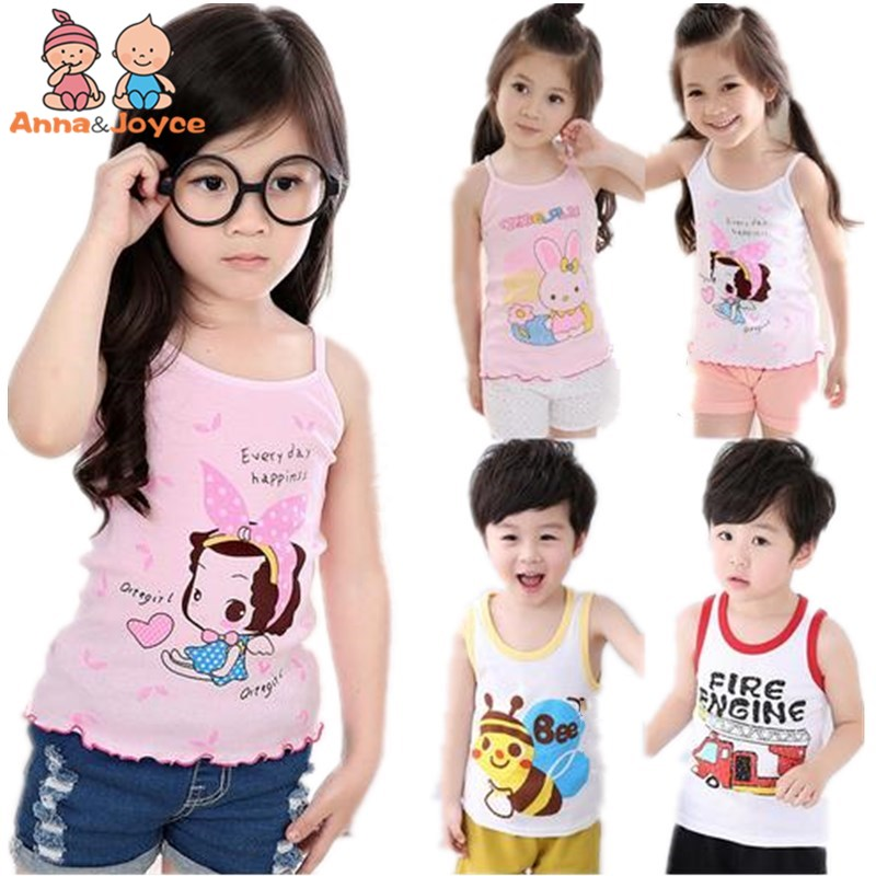 цена на In stock Girls Tanks Baby Girl Summer vest girls clothes tank Wear Tops Cotton Sleeveless Cool Good Quality aTST0003