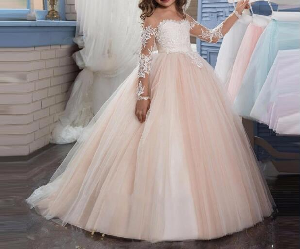 2018 Romantic Champagne Puffy Lace   Flower     Girl     Dress   for Weddings Organza Ball Gown   Girl   Party Communion   Dress   Pageant Gown