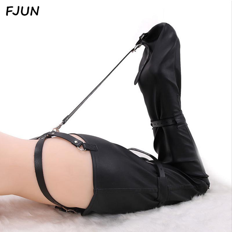 Bondage Sexy Leather Adult Tight Bag Sexy Dress Mermaid Binding SM Adult Sextoys Couple Flirtineg Toys Slave Sex Game fashionable sexy oblique shoulder slim tight dress black green l page 9