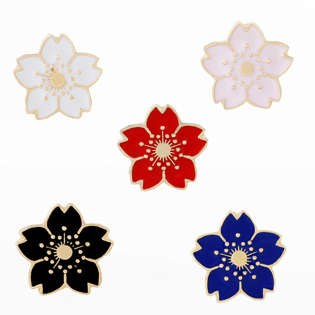 0f6152d3dcffb Cartoon Cherry Blossoms Flower Brooch Enamel Pins Button Clothes Bag Pin  Badge Fashion Jewelry Gift for