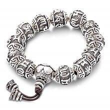 VOJEFN Tibetan Buddhism Vintage 925 sterling silver Fine Charm Rope Bracelet Men, Six Words Yoga Lotus Bracelet Homme Original недорого