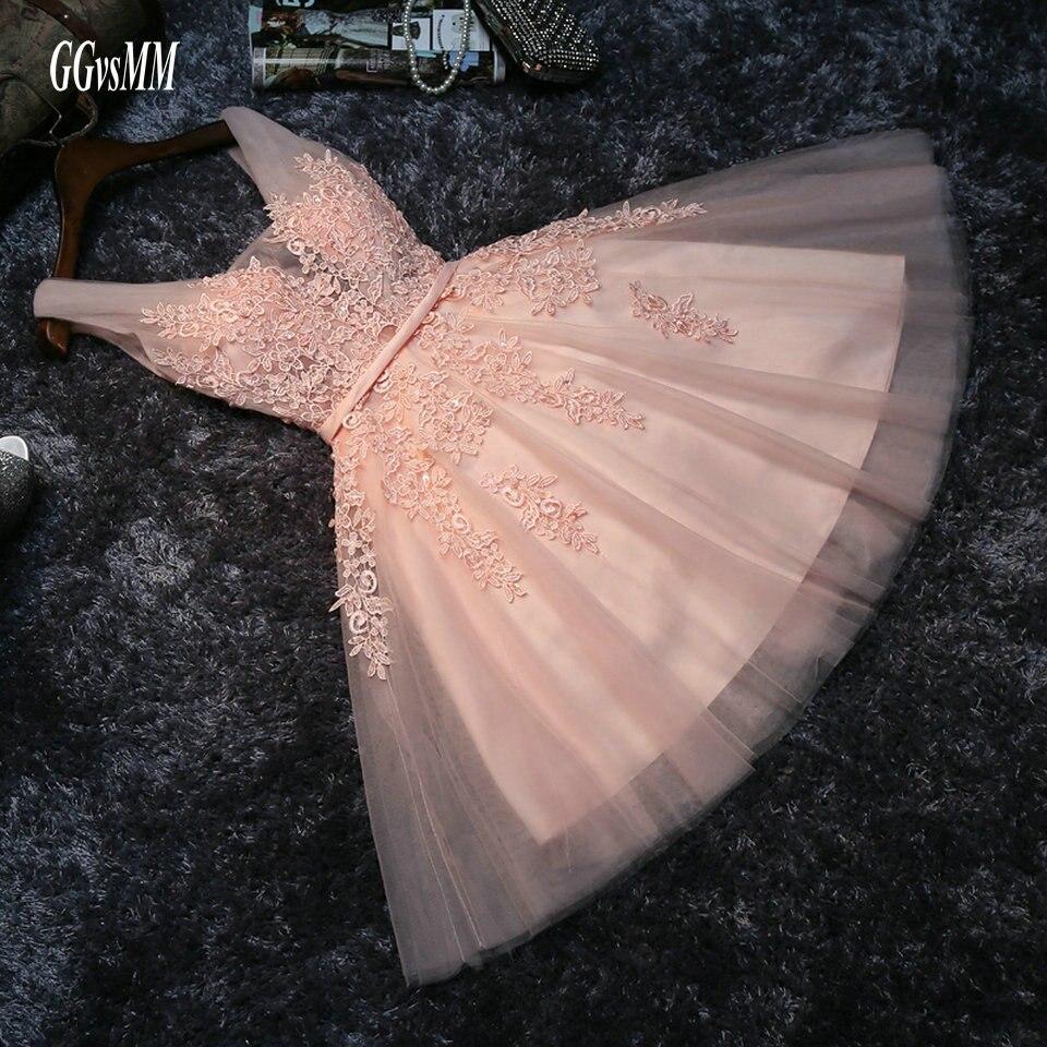 Élégant perle rose robes de bal 2019 Sexy robe de bal courte col en V Appliques perles à lacets genou-longueur Graduation robes de soirée