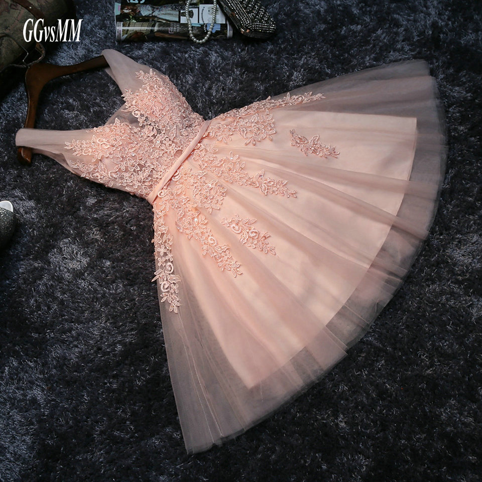Elegant Pearl Pink   Prom     Dresses   2018 Sexy   Prom     Dress   Short V Neck Appliques Beading Lace Up Knee-Length Graduation Party Gowns