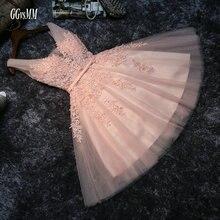Elegante Parel Roze Prom Dresses 2020 Sexy Prom Jurk Korte V hals Applicaties Kralen Lace Up Knielange Afstuderen partij Jassen
