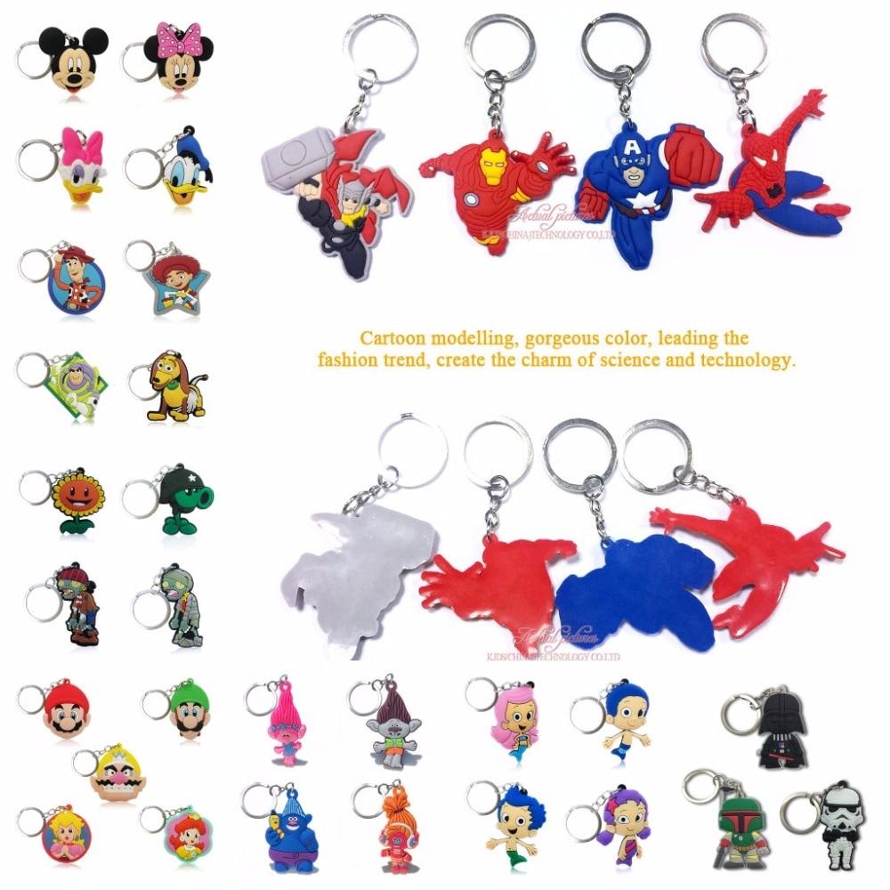 500PCS PVC Cartoon Figure Key Chain Marvel Avengers Mickey Princess Cute Anime Key Ring Kid Toy Pendant Keychain Fashion Trinket