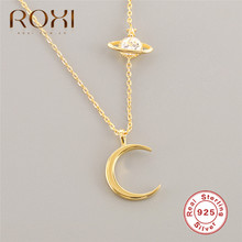 ROXI Minimalist Crescent Moon Necklace Charm Zircon Planet Necklace Women 925 sterling-silver-jewelry Clavicle Chain Necklace цена