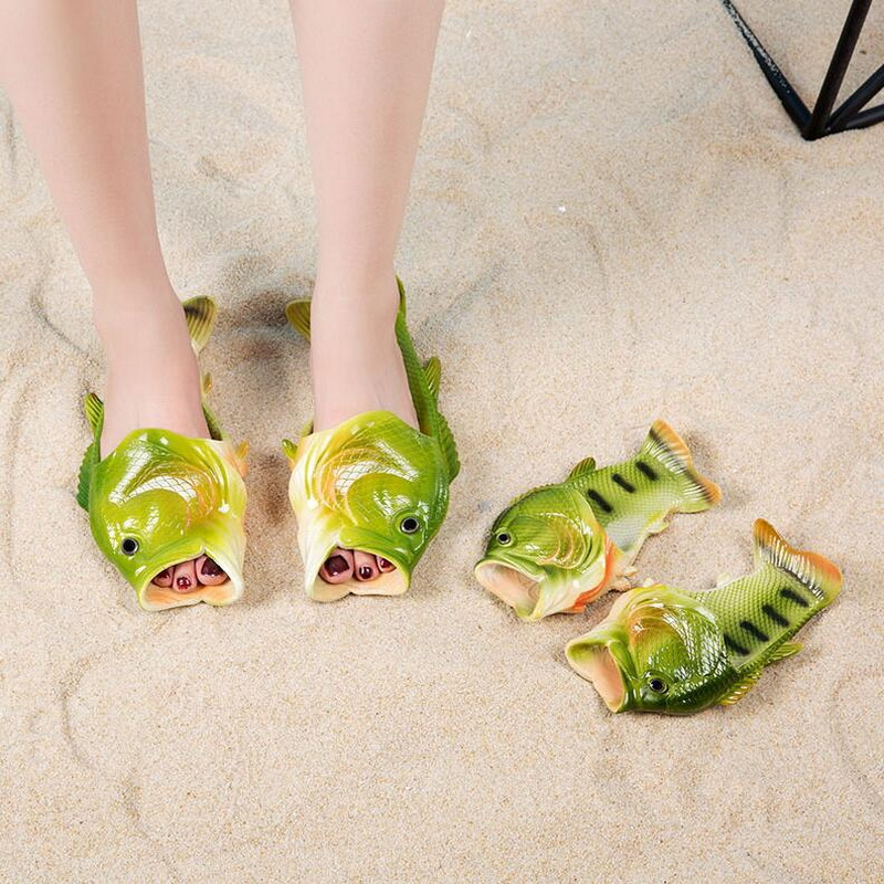 Creative Funny Fish Slip Shoes Slip Shoes Couple Summer Personality Flat Beach Fish Slippers Men & Women Outside Sandals рыбка робот funny fish оранжевая