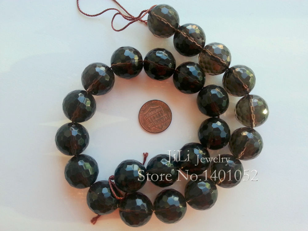 Jewelry & Accessories Constructive Lii Ji Natural Smoky Quartz Round Shape Faceted Beads About 18mm Diy Jewelry Making Approx 39cm To Help Digest Greasy Food