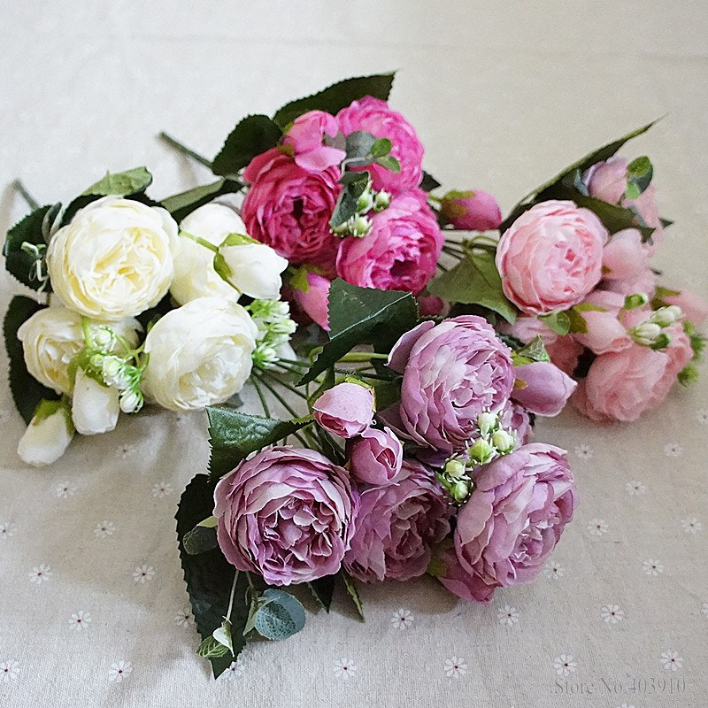 Silk Rose Peony Artificial Flowers Small Bouquet For Wedding Decoration 11