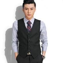 Custom made men suits vest fashion groom tuxedos vest good quality black wedding groomsman prom dress vest