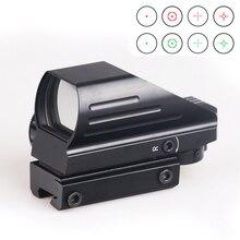 Bijia tático reflexo vermelho/verde laser 4 retículo holográfico projectado ponto vista escopo airgun caça vista 11mm/20mm montagem em trilho