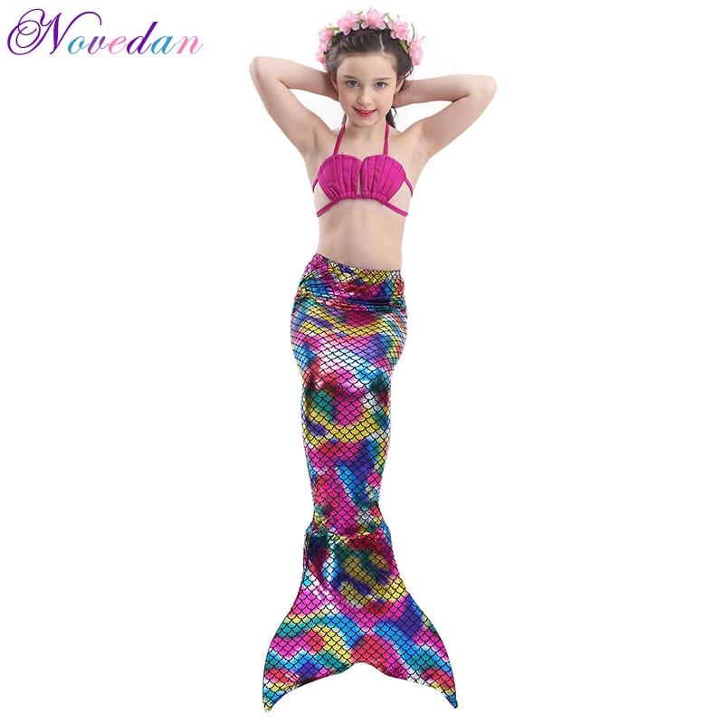 57deee76776 3Pcs/Set Children Mermaid Tail Swimsuit Kids Cosplay Costume Mermaid  Princess Ariel Bikini Set Bathing Suit Fancy Dress-in Girls Costumes from  Novelty ...