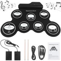 Portable Electronic Digital USB 7 Pads Roll up Drum Set Silicone Electric Drum Kit with Drumsticks and Sustain Pedal