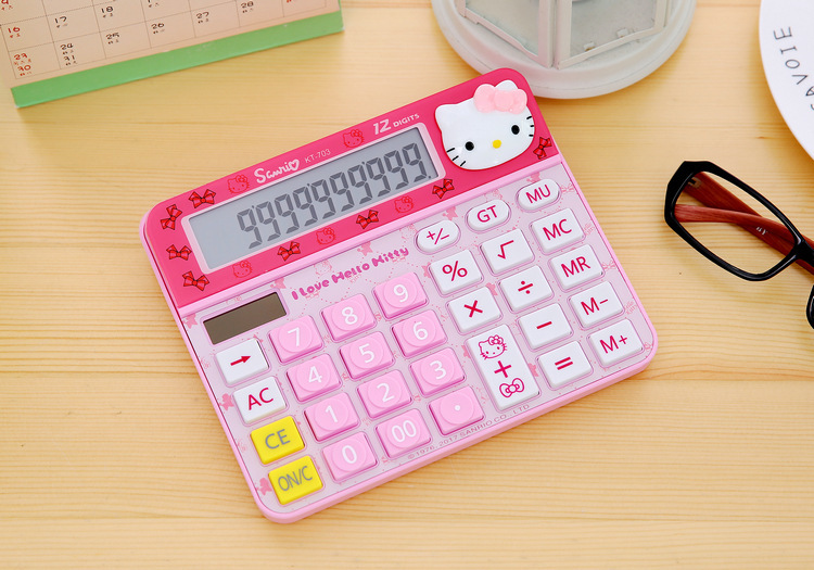 2018 Hello Kitty Doraemon Function desk Solar Calculator Uniwise 12 Digital Display 2-Line LCD Dual Power Calculator