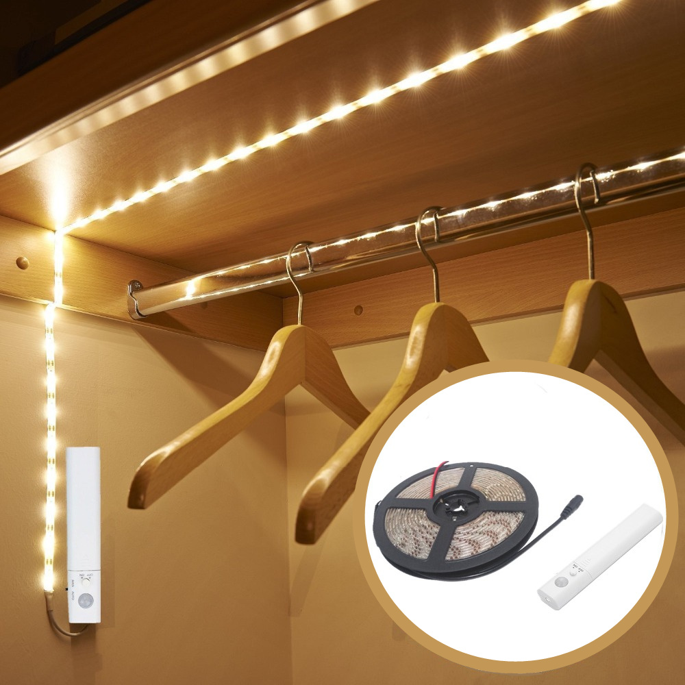 PIR Motion Sensor Battery LED Strip Light 3528 Waterproof Bed Cabinet Closet Light 1m 2m 3m 5V USB LED Strip Lamp TV Backlight