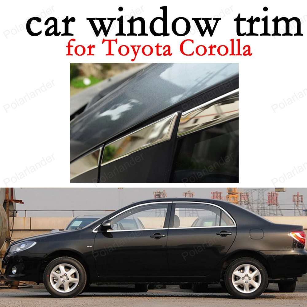 Window Trim Decoration Strips Stainless Steel Car Exterior Accessories for Toyota Corolla without column