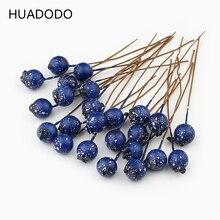 HUADODO 50 sztuk BlueBerry sztuczny pręcik kwiaty sztuczne jagody do scrapbookingu DIY wieniec dekoracji