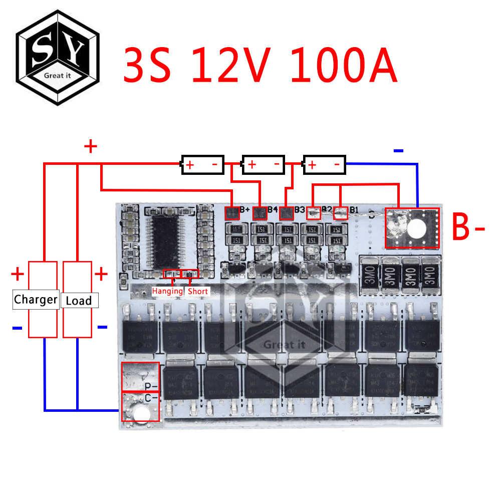 3 s/4S/5S Bms 12v 16.8v 21v 3.7v 100a ליתיום Lmo ליתיום משולש סוללה הגנת המעגלים Li-פולימר איזון טעינה